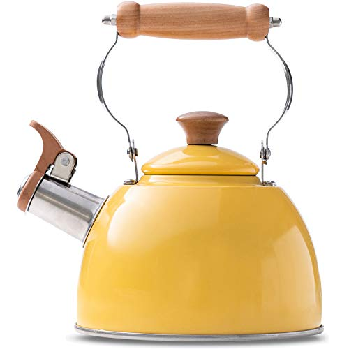 ROCKURWOK Tea Kettle Stovetop Whistling Teapot, Stainless Steel, 1.6-Quart Yellow