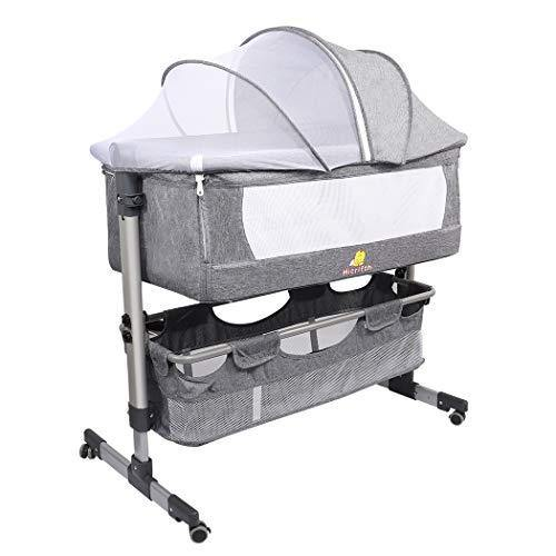 Folding Baby Bedside Sleeper, Hicrifth Portable Travel Baby Crib with Breathable Mesh Window and 4 Adjustable Height for Infant/Newborn(Dark Gray) - PHUNUZ