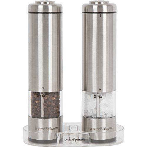 Latent Epicure Battery Operated Salt and Pepper Grinder Set (Pack of 2 Mills) - Complimentary Mill Rest | Bright Light | Adjustable Coarseness | - PHUNUZ