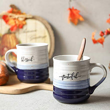 Load image into Gallery viewer, DOWAN 18 oz Large Coffee Mugs, Ceramic Mug Set with Word Blessed Grateful, Big Tea Cup for Office & Home, Easy to Hold, Stylish Texture Glaze, Dishwasher Microwave Safe, Gift for Family Friend, 2 PCS