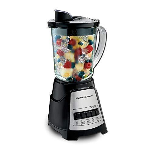Hamilton Beach Power Elite Blender with 12 Functions for Puree, Ice Crush, Shakes and Smoothies and 40oz BPA Free Glass Jar, Black and Stainless Steel (58148A) - PHUNUZ
