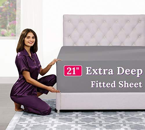 "Deep Pocket Queen Fitted Sheet – 17"" - 21"" Inch + Extra Deep Pocket Fitted Sheet Only - 1 Fitted Bed Sheet with Deep Pockets for Pillow Top Mattress Soft Queen Size Fitted Sheets Grey - PHUNUZ"