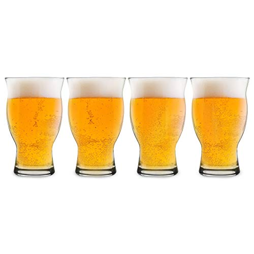 USA Made Nucleated Tulip Pint Glasses for Better Head Retention, Aroma and Flavor- 16 oz Ultimate Pint Glass for Beer Drinking- IPA Beer Glasses For Men- Cool Beer Glass Stackable Design- 4 Pack