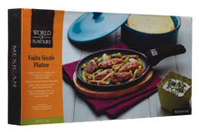 Load image into Gallery viewer, KitchenCraft World of Flavours Fajita Sizzle Platter with Wooden Serving Board, Cast Iron, 41 x 19 x 5 cm