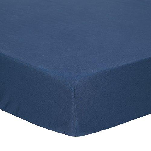 TILLYOU Microfiber Silky Soft Crib Sheet Navy, Breathable Cozy Toddler Mattress Sheet Fitted, 28