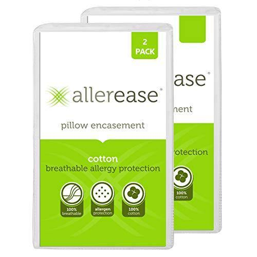 "Aller-Ease 100% Cotton Allergy Protection Pillow Hypoallergenic, Allergist Recommended, Zippered Pillowcase Protector Prevents Collection of Common Allergens, 20"" x 26"" (Set of 2), White, 2 Pack - PHUNUZ"
