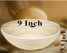 Load image into Gallery viewer, 9 Inch Proofing Basket - Bread Banneton with Cloth Liner Dough Scraper and Bread Lame for Home and Professional Bakers - PHUNUZ