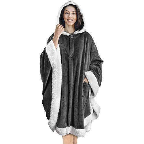 PAVILIA Angel Wrap Hooded Blanket | Poncho Blanket Wrap with Soft Sherpa Fleece | Plush, Warm, Wearable Throw Cape with Pockets for Women Gift (Gray) - PHUNUZ