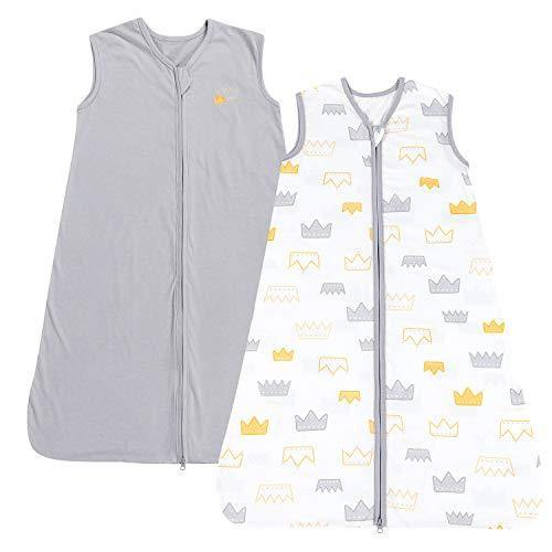 TILLYOU Large L Breathable Cotton Baby Wearable Blanket with 2-Way Zipper, Super Soft Lightweight 2-Pack Sleeveless Sleep Bag Sack Clothes for Boys, Fits Toddlers Age 12-18 Months, Gray Crown - PHUNUZ