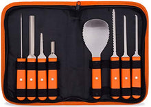 Load image into Gallery viewer, Professional Pumpkin Carving Kit – Heavy Duty Stainless Steel Tools with Carrying Case (8 piece set)