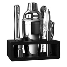 Load image into Gallery viewer, Highball & Chaser Elite Bartender Kit with Stylish Bamboo Stand - Stainless Steel Cocktail Shaker Set with Rustproof Bar Tools. Perfect Bar Set for Home Bars, Parties and Drink Making (Silver)