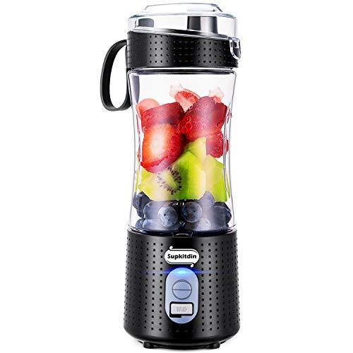 Supkitdin Portable Blender, Personal Mixer Fruit Rechargeable with USB, Mini Blender for Smoothie, Fruit Juice, Milk Shakes, 380ml, Six 3D Blades for Great Mixing (Black) - PHUNUZ