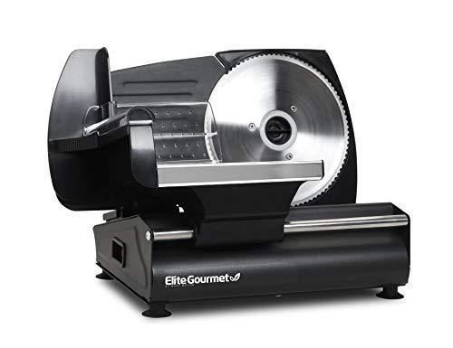 "Elite Gourmet Ultimate Precision Electric Deli Food Meat Slicer Removable Stainless Steel Blade, Adjustable Thickness, Ideal for Cold Cuts, Hard Cheese, Vegetables & Bread, 7.5"", Black - PHUNUZ"