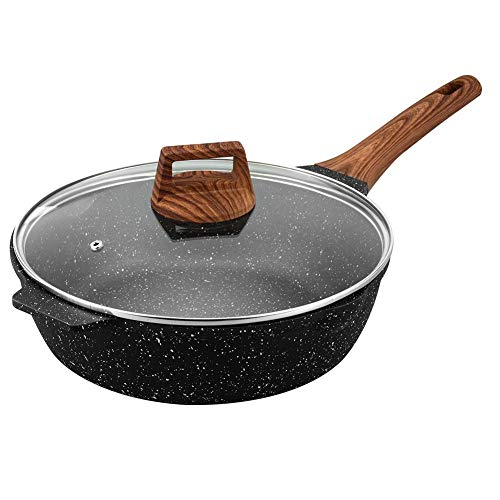 ESLITE LIFE Deep Frying Pan with Lid Nonstick Saute Pan with Granite Stone Coating, 11 Inch (5Quart)