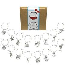 Load image into Gallery viewer, Wine Glass Charms Markers Tags Identification,Wine Charms for Stem Glasses,Wine Bachelorette Tasting Party Favors Decorations,Beach Themed Set of 16