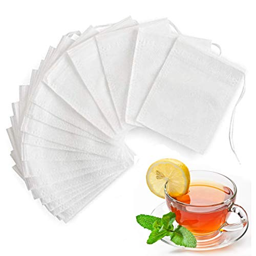 200 PCS Tea Filter Bags for Loose Tea with Drawstring, Angooni Disposable Empty Tea Bags (3.54 x 2.75 inch)