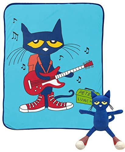 Jay Franco Pete The Cat Rock Out Mini Pillow Buddy and 46 Inch x 60 Inch Throw Set - Kids Super Soft 2 Piece Blanket Set (Official Pete The Cat Product) - PHUNUZ