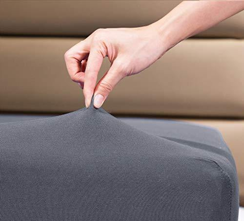 "COSMOPLUS Fitted Sheet Twin Fitted Sheet Only(No Flat Sheet or Pillow Shams),4 Way Stretch Micro-Knit,Snug Fit,Wrinkle Free,for Standard Mattress and Air Bed Mattress from 8"" Up to 10"",Gray - PHUNUZ"