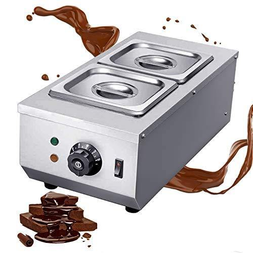 Huanyu Commercial Chocolate Tempering Machine 2 Tanks 9lbs Professional 30~80°C Chocolate Melter Pots Melting Machine Double Cylinder Knob Control (110V) - PHUNUZ