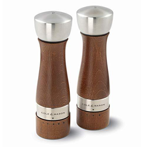 COLE & MASON Oldbury Wood Salt and Pepper Grinder Set - Wooden Mills Include Gift Box, Gourmet Precision Mechanisms and Premium Sea Salt & Peppercorns, Brown - PHUNUZ