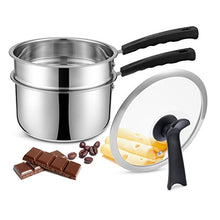 Load image into Gallery viewer, Double Boilers&Classic Stainless Steel Non-Stick Saucepan,Steam Melting Pot for Candle,Butter,Chocolate,Cheese,Caramel and Bonus with Tempered Glass Lid