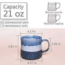 Load image into Gallery viewer, Bosmarlin Large Ceramic Coffee Mug, Big Tea Cup for Office and Home, 21 Oz, Dishwasher and Microwave Safe, 1 PCS… (Blue)
