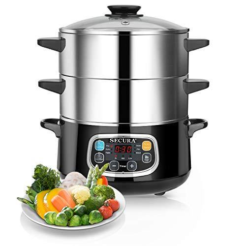 Secura Electric Food Steamer, Vegetable Double Tiered Stackable Baskets with Timer 1200W Fast Heating Stainless Steel Digital Steamer 8.5 Quart - PHUNUZ