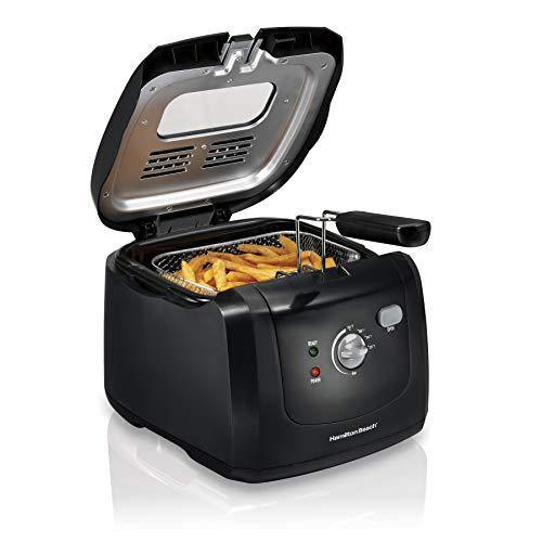Hamilton Beach Cool-Touch Deep Fryer, 8 Cups / 2 Liters Oil Capacity, Lid with View Window, Basket with Hooks, 1500 Watts, Electric, Black (35021) - PHUNUZ