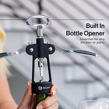 Load image into Gallery viewer, HiCoup Wine Corkscrew & Bottle Opener - Easy To Use, All-In-One Beer And Wine Bottle Openers w/ Stopper - Wing Cork Screw Grip (Chrome And Matte Black)