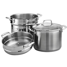Load image into Gallery viewer, Tramontina Gourmet Tri-ply Base Stainless Steel 4-Piece 8-Quart Multi-Cooker