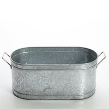 Load image into Gallery viewer, Hosley 18 Inch Long Galvanized Oval Beverage Party Tub Chiller. Garden Planter Serve Ware. Ideal for Patio Garden O3