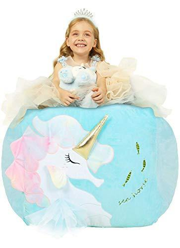 Anzitinlan Unicorn Chair for Girls, Stuffed Animal Storage Bean Bag Chair for Kids, Stuff 'n Sit Organization for Kids Toy Storage, Baby Fleece Fabric Super Soft, Cover Only,Large Size 22x24x20 Inch - PHUNUZ