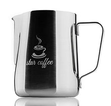 Load image into Gallery viewer, Star Coffee Frothing Pitcher 12oz - Milk Steaming Pitchers 12 20 30oz - Measurements on Both Sides Inside Plus eBook - Perfect for Espresso Machines, Milk Frothers, Latte Art - Stainless Steel Jug