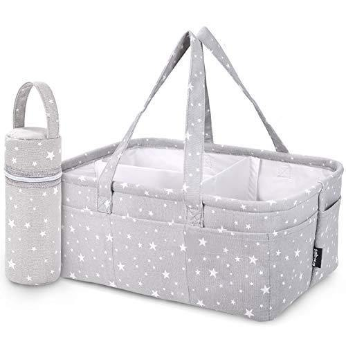 StarHug Baby Diaper Caddy Organizer - Baby Shower Gift Basket | Large Nursery Storage Bin for Changing Table | Car Travel Tote Bag | Newborn Registry Must Have | BONUS - Insulated Baby Bottle Bag - PHUNUZ