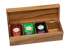 "Load image into Gallery viewer, Lipper International Acacia Wood Tea Box with 4 Sections, 12-1/2"" x 4-1/8"" x 3-7/8"""