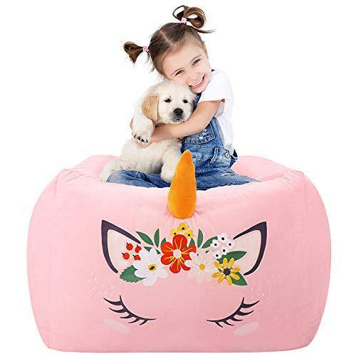 Aubliss Unicorn Stuffed Animal Storage Bean Bag Chair 24x20 Inch Unicorn Bean Bag Chair with Strong YKK Zipper Soft Velvet Plush Organization for Kids (Pink Bean Bag Cover Only) - PHUNUZ
