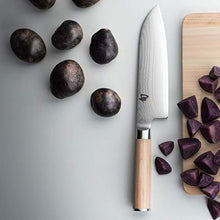 "Load image into Gallery viewer, Shun Classic Blonde 7"" Santoku Knife, Blonde PakkaWood Handle, Full Tang VG-MAX Blade"