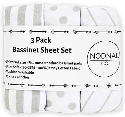 NODNAL CO. Bassinet Fitted Sheet Set 3 Pack 100% Jersey Gray Cotton for Baby Girl/Boy - Grey Chevron, Polka Dot and Stripe 160 GSM Sheets - PHUNUZ