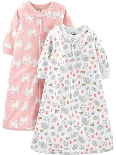 Simple Joys by Carter's Girls' 2-Pack Microfleece Sleepbag Wearable Blanket, Pink Cats/Animals, 6-9 Months, 17 to 21 lbs - PHUNUZ