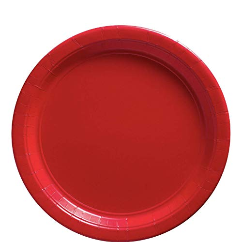 Amscan 650013.4 Apple Red Paper Luncheon Plates | Big Party Pack | 50 Ct, 9