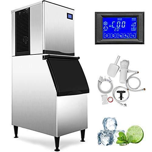 VEVOR 110V Commercial Ice Maker 400LBS/24H with 350LBS Bin, Full Clear Cube, LCD Panel, Stainless Steel, Quiet Operation, Auto Clean, Air Cooling, ETL Approved, Professional Refrigeration Equipment - PHUNUZ