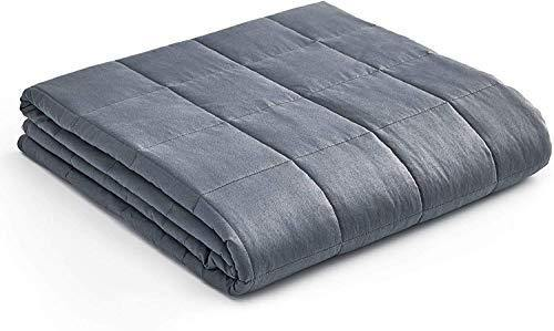 YnM Weighted Blanket(10 lbs for Kids Weigh Around 90lbs, 41''x60''') | 2.0 Cozy Heavy Blanket | 100% Oeko-Tex Certified Cotton Material with Premium Glass Beads, Dark Grey - PHUNUZ