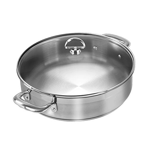 Chantal Induction 21 Steel Sauteuse with Glass Tempered Lid (5-Quart)