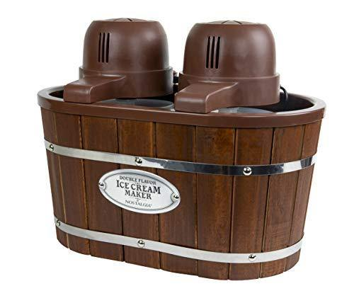 Nostalgia Double Flavor Electric Bucket Ice Cream Maker Makes 4-Quarts in Minutes, Frozen Yogurt, Gelato, Made From Real Wood, Includes Two 2-Qt Canisters - PHUNUZ