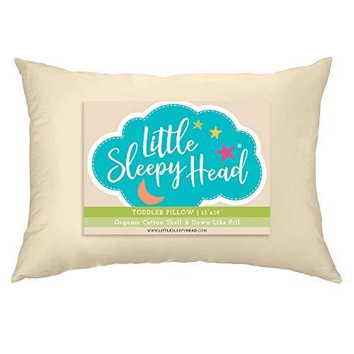 Little Sleepy Head Toddler Pillow, Organic Cotton, Down-Like Fill, Ivory 13 X 18 - PHUNUZ
