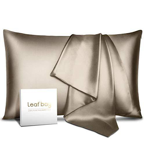 Leafbay 100% Pure Mulberry Silk Pillowcase for Hair & Skin -Allergen Proof Dual Sides 600 Thread Count Silk Bed Pillow Cases with Hidden Zipper,1 Pack Queen Size - PHUNUZ