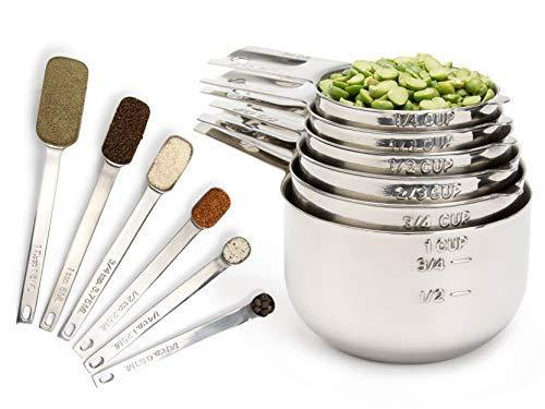 Simply Gourmet Measuring Cups and Measuring Spoons Set. Includes 12 Stainless Steel Measuring Cups and Spoons. Liquid Measuring Cup or Dry Measuring Cup Set. Stainless Measuring Cups, Nesting Cups - PHUNUZ