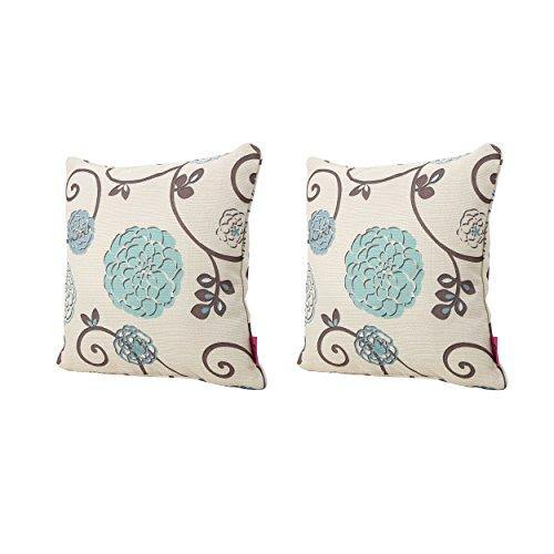 Christopher Knight Home 301589 Ippolito Fabric Pillows, 2-Pcs Set, White And Blue Floral - PHUNUZ