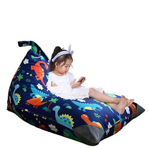 Stuffed Animal Storage Bean Bag Chair for Kids and Adults. Premium Canvas Stuffie Seat - Cover ONLY (Dinosaur 200L/52 Gal) - PHUNUZ