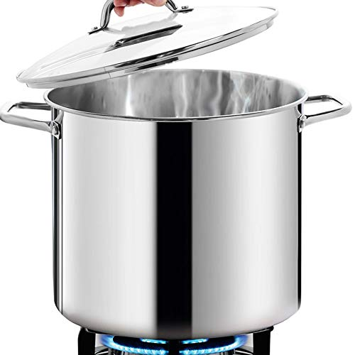 HOMICHEF Large Nickel Free Stainless Steel Stock Pot 16 Quart with Lid - Mirror Polished Stockpot 16 Quart with Lid - Heavy Soup Pot Large Cooking Pot with Lid - Healthy Cookware Induction Pot